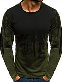 abordables Camisetas y Tops de Hombre-Hombre Algodón Camiseta, Escote Redondo Delgado Bloques / Manga Larga