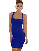 cheap Women's Dresses-Women's Daily Shift Dress - Solid Colored Strap Red Wine Royal Blue M L XL