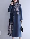 hesapli Vintage Kraliçesi-Kadın's Büyük Bedenler Kombinezon Elbise Boğazlı Midi