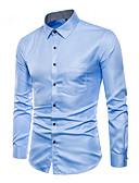 abordables Camisas de Hombre-Hombre Activo / Básico Tallas Grandes Algodón Camisa Un Color Wine XXXL / Manga Larga