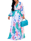 billige Bryllupskjoler-kvinners sving kjole høy midje maxi v nakke