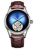 ieftine Ceasuri de Lux-AngelaBOS Bărbați ceas mecanic Mecanism manual 50 m Rezistent la Apă Gravură scobită Creative Piele Autentică Bandă Analog Lux Modă Negru / Maro - Rosu Verde Albastru / Oțel inoxidabil