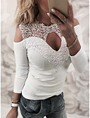cheap Women's Two Piece Sets-Women's Street chic Shirt - Solid Colored Lace