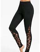 billige Leggings-Dame Daglig Basale Legging - Ensfarvet, Trykt mønster Høj Talje