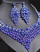 povoljno Kvarcni satovi-Žene Sapphire Kristal Izjava Ogrlice Naušnica Svadbeni nakit Setovi Leaf Shape dame Stilski Luksuz Jedinstven dizajn Stil višenja Elegantno Umjetno drago kamenje Naušnice Jewelry Dark Blue / Duga