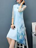 cheap Women's Blouses-Women's Floral Plus Size Party / Weekend Chinoiserie / Sophisticated Asymmetrical Sheath Dress - Floral Print Stand Spring Light Blue XL XXL XXXL / Loose