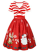 cheap Historical & Vintage Costumes-Dress Christmas Dress Santa Clothes Adults' Women's Dresses Christmas Christmas New Year Festival / Holiday Polyster Red Carnival Costumes Christmas Printing