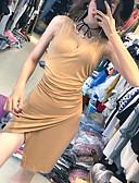 رخيصةأون فساتين طويلة-فستان نسائي ضيق كاجوال Ruched - قطن فوق الركبة لون سادة مناسب للحفلات / نحيل