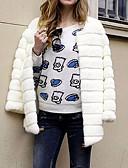 cheap Women's Fur & Faux Fur Coats-Women's Work / Party / Cocktail Street chic / Sophisticated Winter Plus Size Long Fur Coat, Solid Colored / Striped Round Neck Long Sleeve Faux Fur / Spandex Patchwork White / Black / Beige XL / XXL