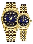 povoljno Nehrđajući čelik-Par je Ručni satovi s mehanizmom za navijanje Zlatni sat Kvarc odgovarajući Njegova i Njezina Zlatna 30 m Kalendar Kreativan Analog Luksuz Elegantno - Zlato