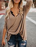 preiswerte Bluse-Damen Solide - Grundlegend / Street Schick Ausgehen T-shirt, Tiefes V Lose Purpur M / Sexy