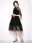 abordables Abrigo y Gabardinas de Mujer-Mujer Sofisticado / Elegante Línea A / Pequeño Negro Vestido - Encaje / Lazo, Un Color Midi