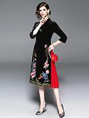tanie Suknie i sukienki damskie-Damskie Vintage / Wzornictwo chińskie Swing Sukienka - Kwiaty, Haft Midi