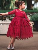 رخيصةأون فساتين البنات-أميرة Cinderella عتيق كوستيوم للفتيات فساتين أزياء الحفلة اللباس الزعنفة أبيض / أحمر عتيقة تأثيري دانتيل نصف كم تي شيرت