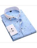 abordables Camisas de Hombre-Hombre Negocios Trabajo Estampado - Algodón Camisa Delgado Geométrico Rosa XXXL / Manga Larga / Primavera / Otoño