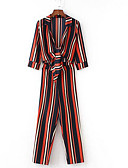 cheap Women's Jumpsuits & Rompers-Women's Daily Shirt Collar Red Jumpsuit, Striped Tassel Puff Sleeve M L XL Long Sleeve