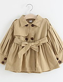お買い得  女児ジャケット&コート-子供 女の子 ストリートファッション 日常 ソリッド 長袖 レギュラー トレンチコート ピンク