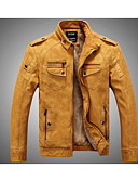 cheap Men's Jackets & Coats-Men's Punk & Gothic Leather Jacket - Solid Colored Stand / Long Sleeve