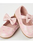 hesapli Gelin Şalları-Genç Kız Ayakkabı PU İlkbahar & Kış Makosenler / Çiçekçi Kız Ayakkabıları Düz Ayakkabılar Fiyonk / Sihirli Bant için Toddler Bej / Pembe