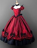 halpa Vanhan maailman asut-Goottityyli Viktoriaaninen Asu Naisten Tyttöjen Mekot Juhla-asu Naamiaisasu Punainen Vintage Cosplay Satiini Lyhyt hiha Pöyheä pallo Kokopitkä Tanssiaismekko Pluskoko Räätälöidyt / Gothic Lolita