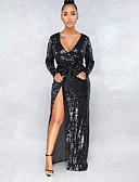 cheap One-piece swimsuits-Women's 2019 Party Club New Year Eve Sexy Elegant Maxi Dress Sequins Split Glitter Deep V Black L XL XXL