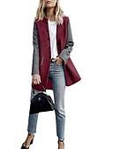 cheap Women's Trench Coats-Women's Daily Basic Long Coat, Color Block Collarless Long Sleeve Polyester Gray / Wine / Khaki M / L / XL