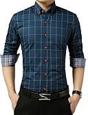 זול חולצות-משובץ דמקה בסיסי חולצה - בגדי ריקוד גברים כחול בהיר