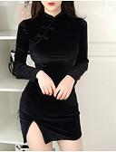 זול שמלות מיני-בגדי ריקוד נשים כותנה רזה מכנסיים מותניים גבוהים שחור / Party / מיני / צווארון עגול קצר / מועדונים / סקסית