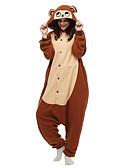ieftine Gadgeturi de baie-Adulți Pijama Kigurumi Maimuţă Pijama Întreagă Lână polară Maro Cosplay Pentru Bărbați și femei Sleepwear Pentru Animale Desen animat Festival / Sărbătoare Costume