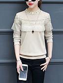 economico Maglie donna-T-shirt Per donna Essenziale / Moda città Pizzo / Tagliato / Con balze, Tinta unita