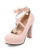 hesapli Kadın Etekleri-Kadın's Ayakkabı PU İlkbahar yaz Topuklular Kalın Topuk Yuvarlak Uçlu Düğün / Parti ve Gece için İmistasyon İnci / Toka Beyaz / Siyah / Pembe