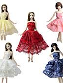 olcso Dresses For Date-Party / Estélyi / Báli fazon Ruhák 5 pcs mert Barbie baba Csipke / Szatén Ruha mert Lány Doll Toy