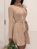 preiswerte Korsetts & Bustiers-Damen Grundlegend Street Schick Baumwolle Schlank Hülle Kleid Solide Mini Rundhalsausschnitt