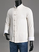 cheap Men's Shirts-Men's Chinoiserie Slim Shirt - Solid Colored Standing Collar / Long Sleeve