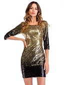 cheap Party Dresses-Women's Sequins Club Party / Cocktail New Year Eve Slim Bodycon Dress - Gradient Black, Sequins Open Back Glitter Gold L XL XXL