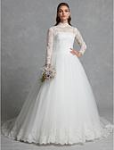 olcso Menyasszonyi ruhák-A-vonalú / Báli ruha Magasnyakú Kápolna uszály Csipke / Tüll Made-to-measure esküvői ruhák val vel Rátétek / Gombok / Csipke által LAN TING BRIDE® / Ragyogó & csillogó