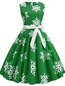 tanie Sukienki-Damskie Vintage / Elegancja Bawełna Spodnie - Płatek śniegu Niebieski / Święto / Wyjściowe