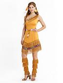 hesapli Göbek Dansı Giysileri-Amerikan Hintçesi Kostüm Kadın's Kıyafetler Kahverengi Eski Tip Cosplay ChinIon Naylon Kısa Kollu Kaplı Kol Orta Uyluk Mini