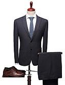 billige Dresser-Ensfarget Standard Spandex / polyster Dress - Med hakk Enkelt Brystet To-knapp