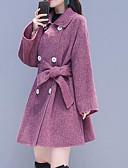 povoljno Jakne-Žene Izlasci Dug Jakna, Jednobojni Preklapajućih Collar Dugih rukava Poliester Sive boje / Crvena M / L / XL