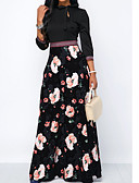 cheap Print Dresses-Women's Party / Daily Long Maxi Abaya Dress - Floral Crew Neck Black M L XL
