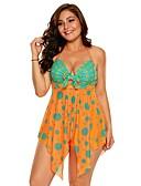 رخيصةأون ملابس السباحة والبيكيني 2017 للنساء-XL XXL XXXL طباعة منقط, ملابس السباحة ثلاثة قطع قطعة واحدة حلقة برتقالي قبة مرتفعة حول الرقبة أساسي نسائي / مثير