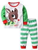povoljno Kompletići za dječake-Djeca Dječaci Osnovni Prugasti uzorak Print Dugih rukava Pamuk Komplet odjeće Svijetlo zelena