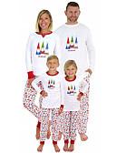 povoljno Obiteljski komplet odjeće-Obiteljski izgled Osnovni Božić Dnevno Geometrijski oblici Dugih rukava Komplet odjeće Obala
