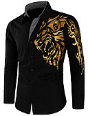cheap Latin Dancewear-Men's Street chic Slim Shirt - Graphic / Long Sleeve