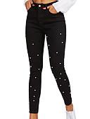 رخيصةأون قمصان نسائية-نسائي أساسي نحيل جينزات بنطلون - منقط أسود