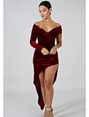 billige Kjoler til nyttårsaften-Dame Elegant Bukser - Ensfarget Vin / Løse skuldre / Asymmetrisk / Sexy