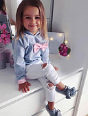 cheap Girls' Clothing Sets-Kids / Toddler Girls' Active / Basic Daily / Sports Solid Colored Bow / Ripped Long Sleeve Regular Cotton / Polyester / Spandex Clothing Set Gray