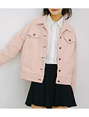 رخيصةأون بليزرات للنساء-قطن نسائي أبيض وردي بلاشيهغ S M L جواكيت جينز أساسي لون سادة قبعة القميص
