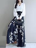 baratos Conjuntos Femininos-Mulheres Moda de Rua / Sofisticado Manga Princesa Conjunto Sólido / Floral / Xadrez Calça